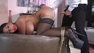 Hot nuisance fit together Raven Hard gets a buttplug during vaginal sex