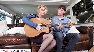 Coarse blonde housewife to spot on target curves Threshold Laurence is banged sideways