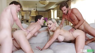 Cum swapping sluts Olive Glass and Kenzie Taylor fucked by 2 guys