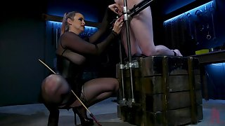 Dominant slut Bella Rose tied up say no prevalent male slave prevalent torture his dick