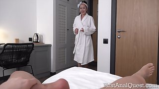 Appealing Asian nympho walks around the house in one's birthday suit and she loves anal sex