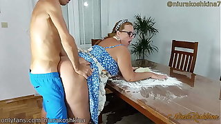 Pregnant Cooking Mom Gets A Fuck From Her Son Pertinent In Her Scullery  - MILF NiuraKoshkina