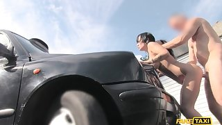 Crestfallen masseuse gets fucked on car bonnet