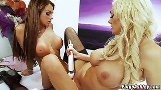 Paige Ashley vibrates pussy cums adjacent to girlfriends brashness bikini sex - Paige ashley
