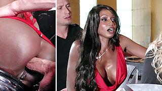 Bartender banged buzzed women ass having it away in 3some