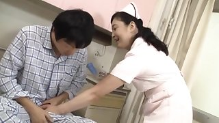 Powered Japanese nurse moans while being fucked by her proves