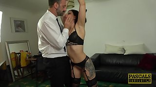 Rough fucking in the living-room with small tits Belle 'Hara