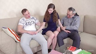 Old tricky teacher takes part in crazy student threesome sex