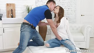 Lucky BF Makes Love to Teen Stasya Stoune and Fills Her with His Hot Seed