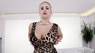 Curvaceous blonde gets undress and shows off pierced nipples and pussy