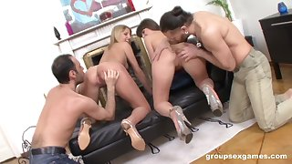Hardcore foursome sex with Betty with an increment of Xenia object print penetrated
