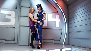 Latex fetish with women delineated to one another