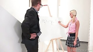Naughty coed chick with cute pigtails stands on knees just about drag inflate her prof dry