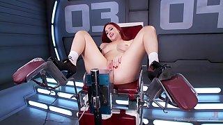 Solo redhead Sophia Locke makes herself cum with a vibrator