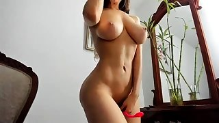 Latina Broad in the beam Boobs Strips on Webcam