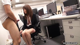 Japanese office babe stays late stopping work to suck her co worker's dick